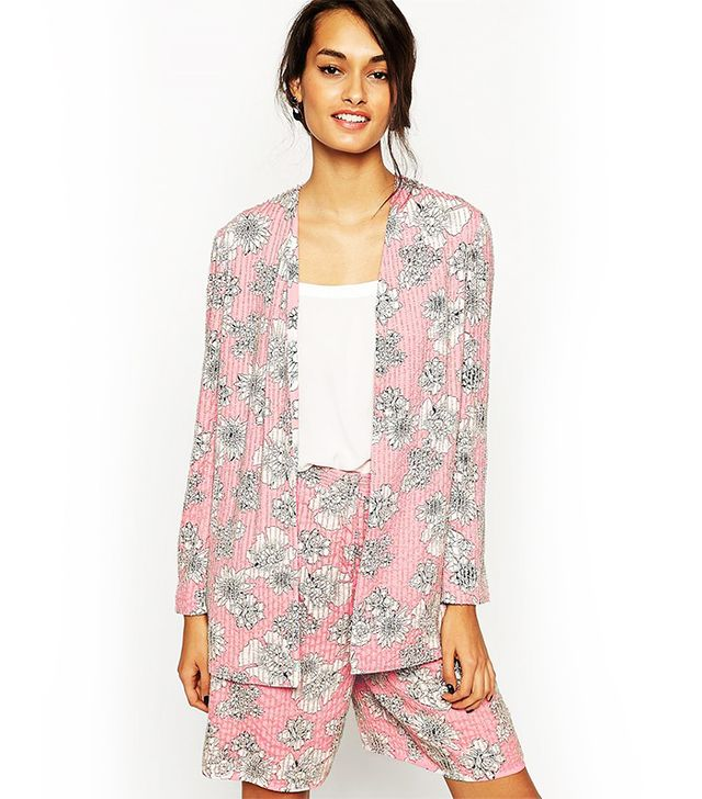 ASOS Relaxed Blazer with Embellished Floral Print Co-ord