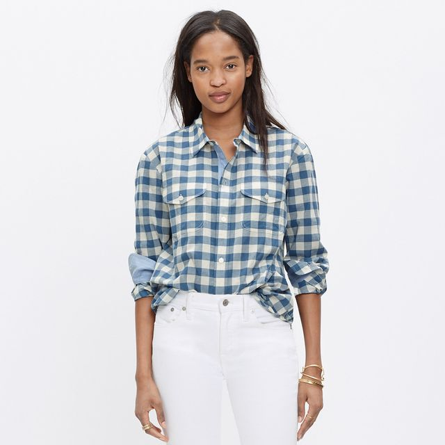 Madewell Cargo Workshirt in Blue Gingham