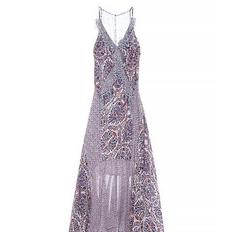 Ruffled Paisley-Print Silk Midi Dress