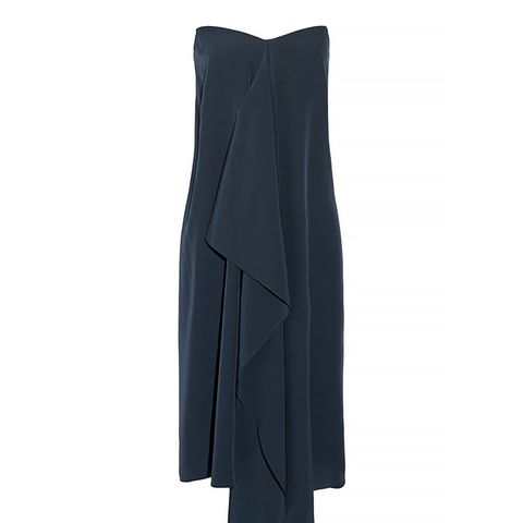 Asymmetric Silk Crepe de Chine Strapless Dress