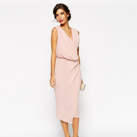 Wrap Drape Midi Dress