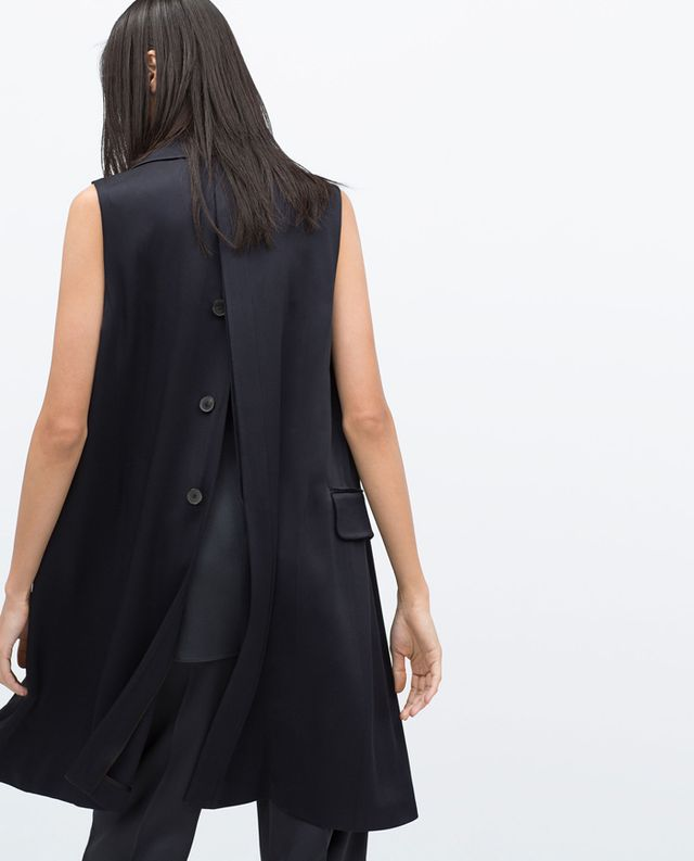 Zara Studio Waistcoat With Back Opening
