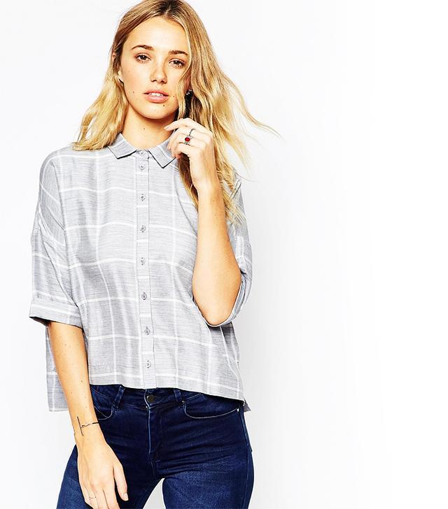 ASOS Crinkle Oversize Check Shirt