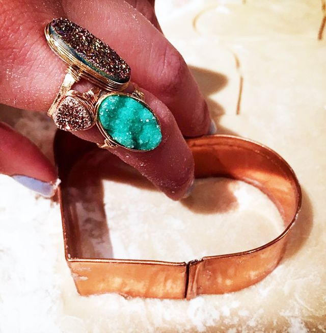 On Lively: Saressa Designs Oval Druzy Rings ($48) and Gold Triangle Druzy Ring ($38).