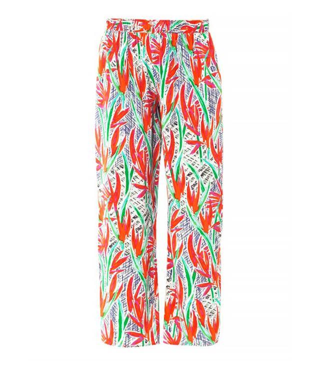 Kenzo Cubic Palm-Print Silk Trousers
