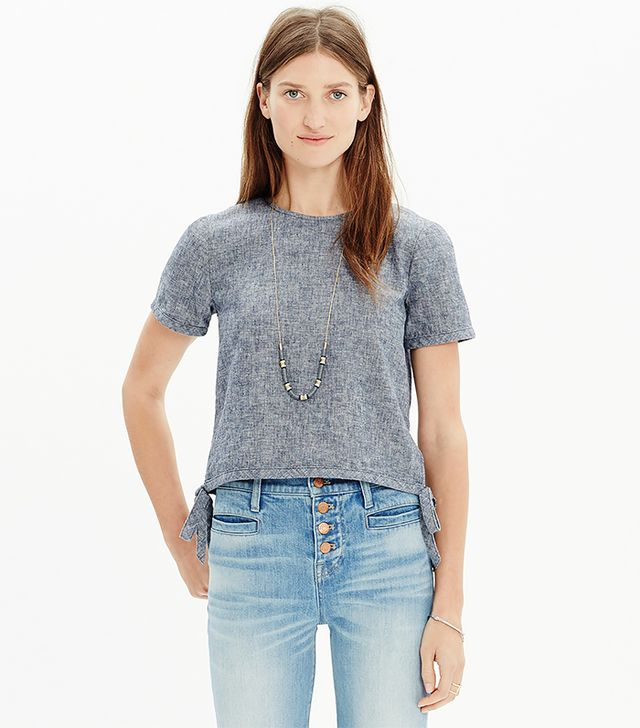 Madewell Chambray Side-Tie Crop Tee