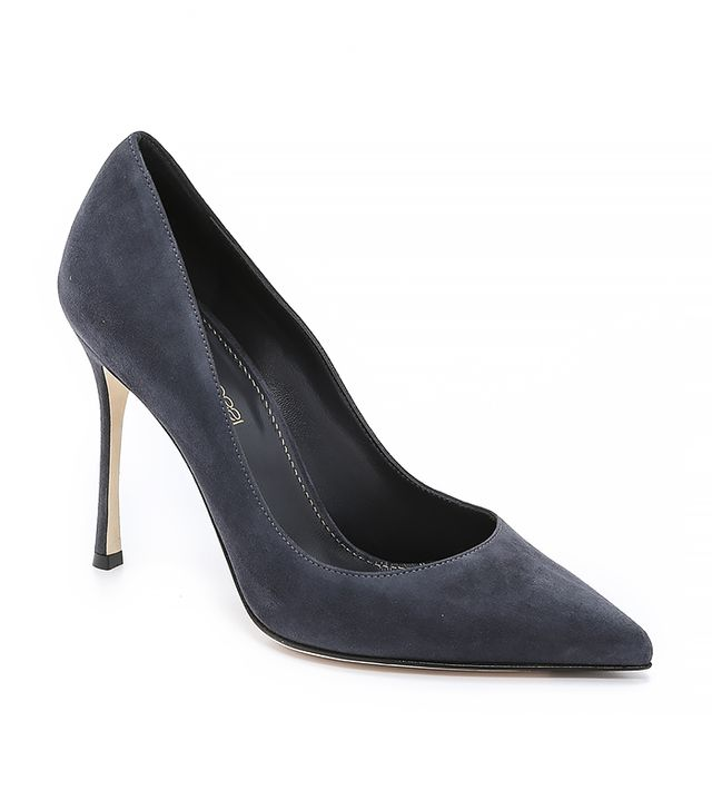 Sergio Rossi Suede Godiva Pumps on Ash Grey