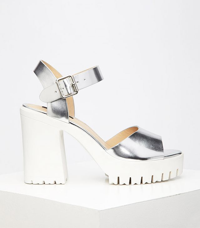 Forever 21 Lug Sole Metallic Platform Sandals