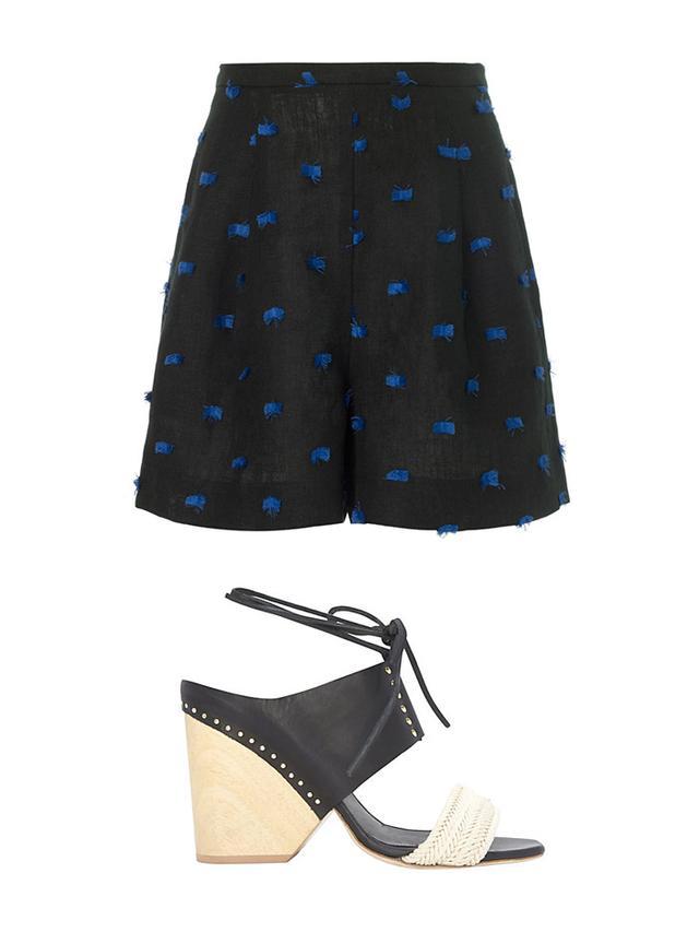 Rachel Comey Black Linen Fringe Bell Shorts