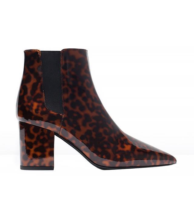 Zara Shiny Print High-Heeled Booties