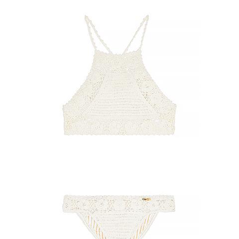 Crocheted Cotton Halterneck Bikini