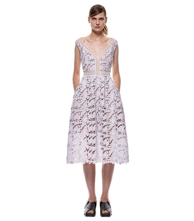 Self-Portrait Off Shoulder Lace Midi Dress