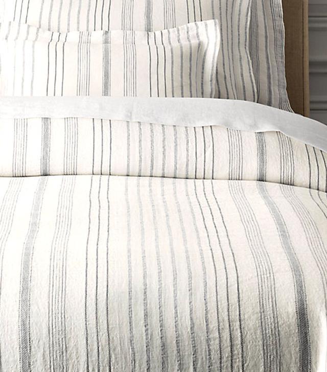 Restoration Hardware Italian Jacquard Stripe Linen Duvet Cover