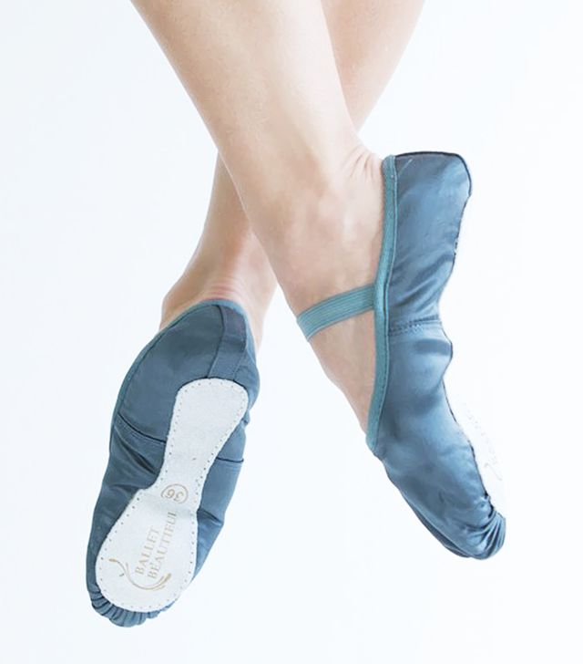 Ballet Beautiful Slate Grey Satin Workout Slippers with Elastic