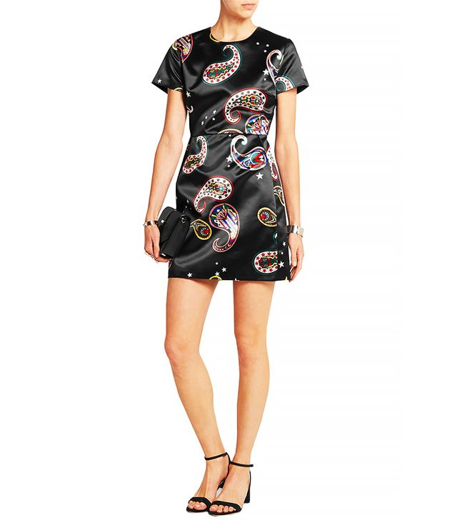 MSGM Paisley-Print Silk-Satin Mini Dress