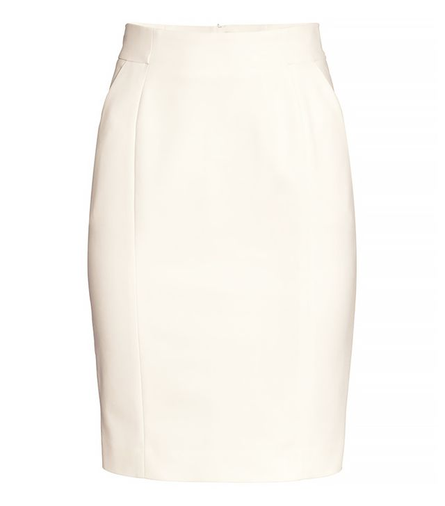 H&M White Knee-Length Skirt