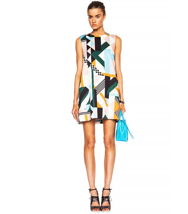 MSGM Geometric Print Cotton Blend Tank Dress