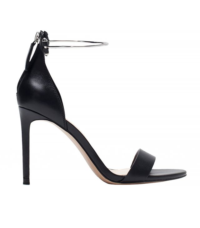 Zara Leather High Heel Sandal with Ankle Strap
