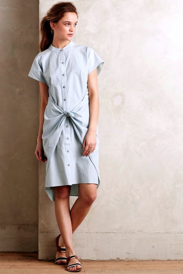Corey Lynn Calter Tied Chambray Shirtdress