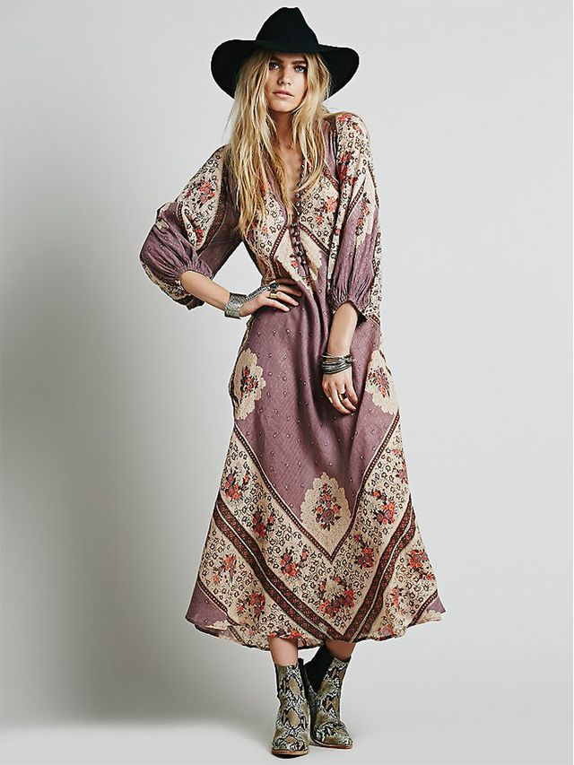 Lotta Stensson for Free People Vintage Hippie Maxi Dress