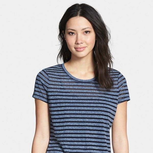 Caslon Sheer Stripe Crewneck Tee
