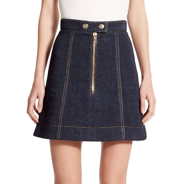 Sonia Rykiel Zip-Front Denim Mini Skirt