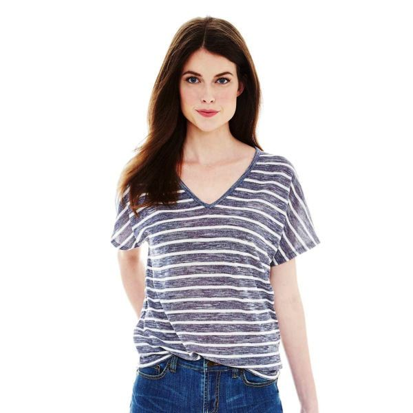 Joe Fresh Short-Sleeve Striped V-Neck T-Shirt