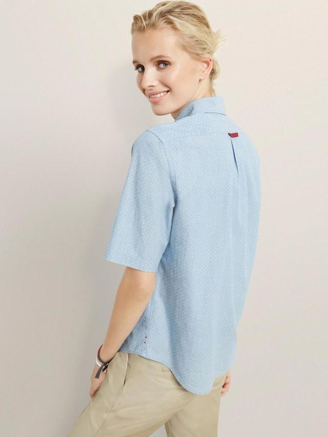 ED Short Sleeve Polka Dot Chambray Shirt