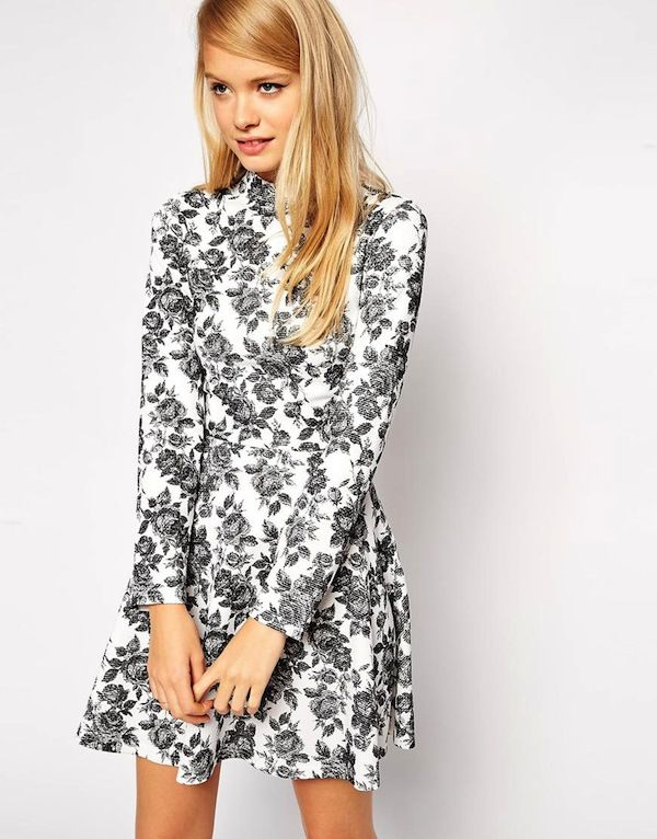 ASOS Skater Dress in Textured Floral with High Neck and Long Sleeves