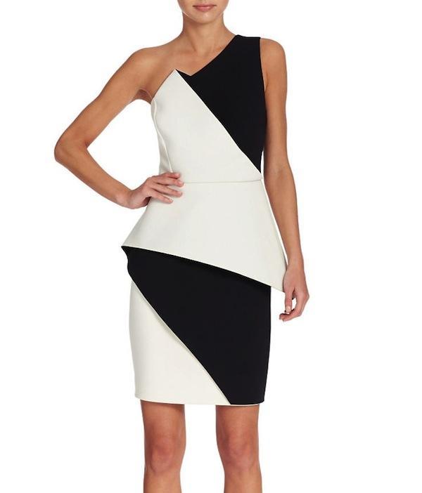 HALSTON HERITAGE Asymmetric Peplum Dress