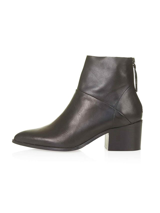 Topshop Midnight Leather Zip-Back Boots