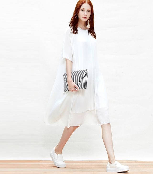 Common Space White Tiny Pleats Dress