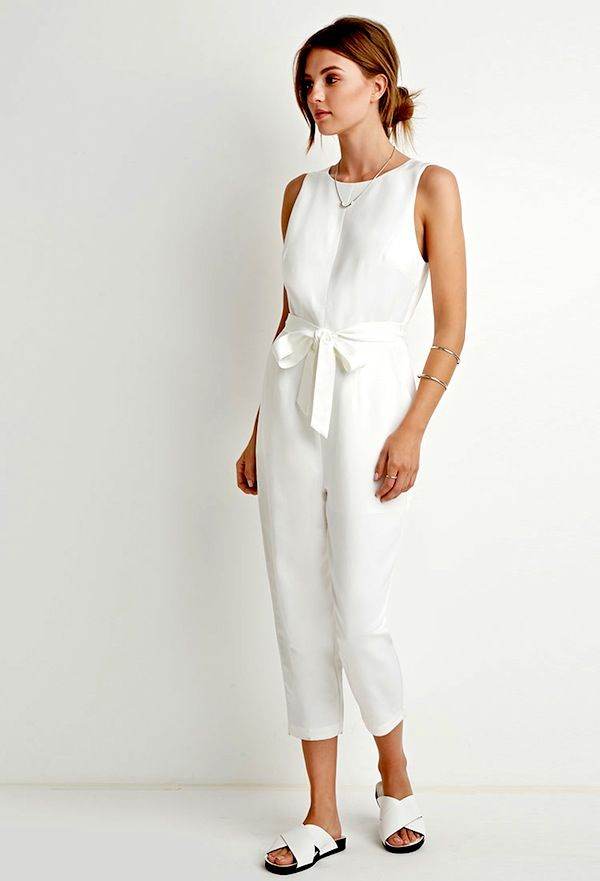 Forever21 Belted Textured-Woven Jumpsuit