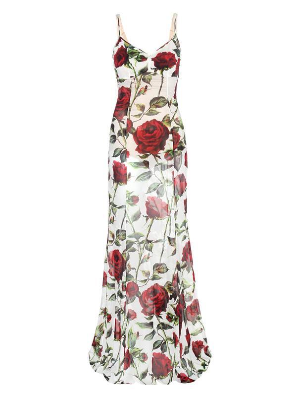 Dolce & Gabbana Multicolor Printed Silk-Chiffon Dress