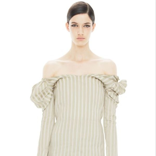 Acne Liz Stripes Beige Stripe Pants