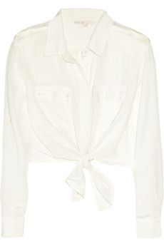 Maje  Aoutien Tie-Front Cropped Silk Shirt