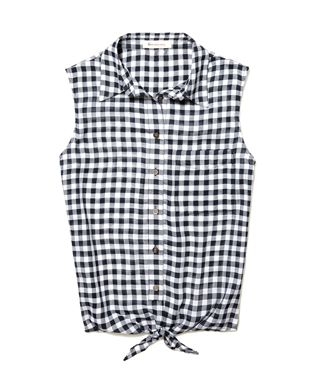 Two by Vince Camuto   Plaid Tie Front Blouse