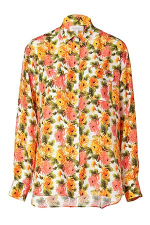 Paul & Joe  Orange/Multi Floral Print Silk Machado Shirt
