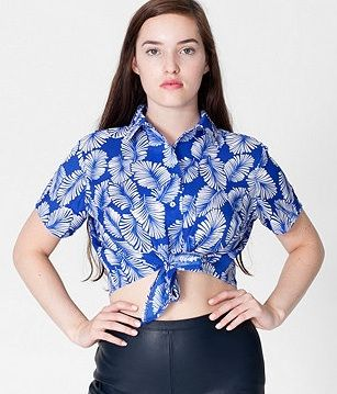 American Apparel  Printed Polyester Mid-Length Tie-Up Blouse