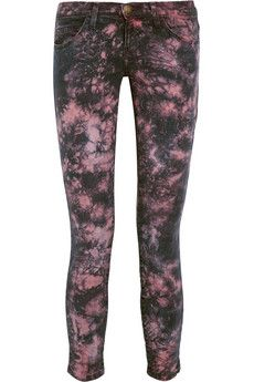 Current/Elliott Stiletto Tie Dye-Print Cropped Mid-Rise Skinny Jeans