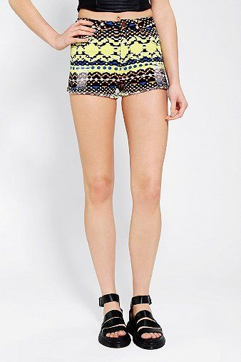 Huntingbird Geo-Print Denim Shorts