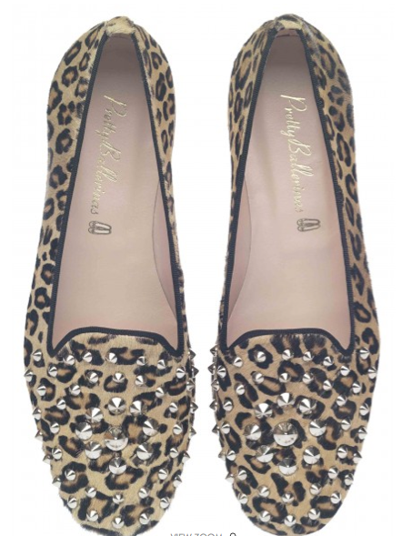 Pretty Ballerinas Faye Leopard Printed Poni With Large Studs Loafers