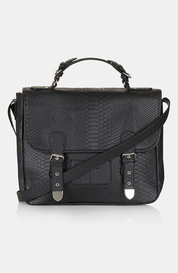Topshop Snake Embossed Faux Leather Satchel