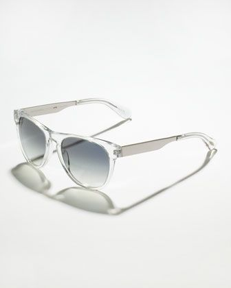 Oliver Peoples Braverman Photochromic Metal-Arm Clear Sunglasses
