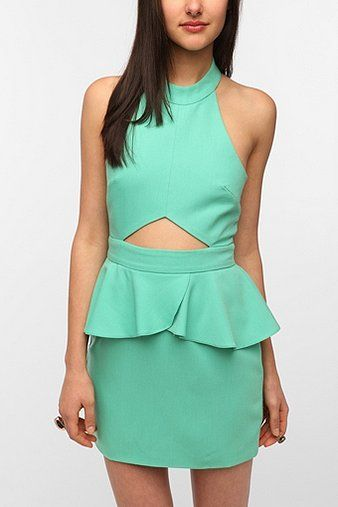 Naven Cutout Peplum Halter Dress