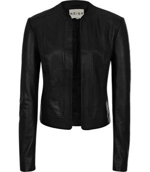 Reiss  Bryony Cropped Leather Jacket
