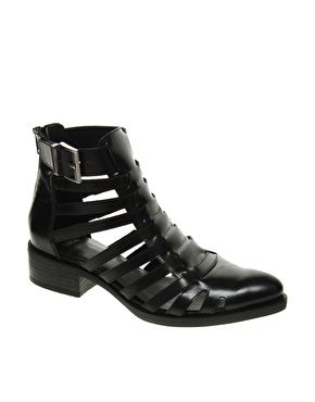 ASOS Attack Leather Cut Out Gladiator Ankle Boots