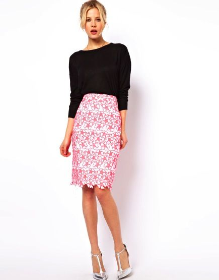 ASOS ASOS Neon Embroidery Pencil Skirt