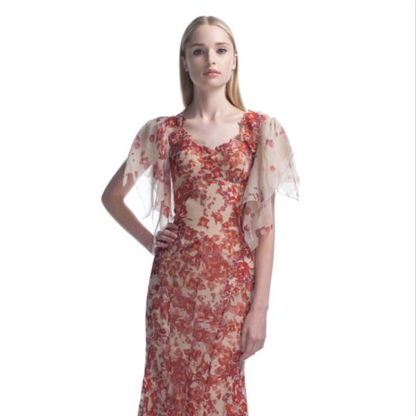 Zac Posen Harlem Rose Print Evening Gown
