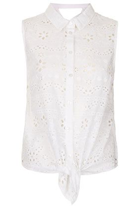 Topshop Broderie Cross-Back Shirt